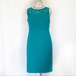 Calvin Klein // Teal Lace Career Sheath Dress 6